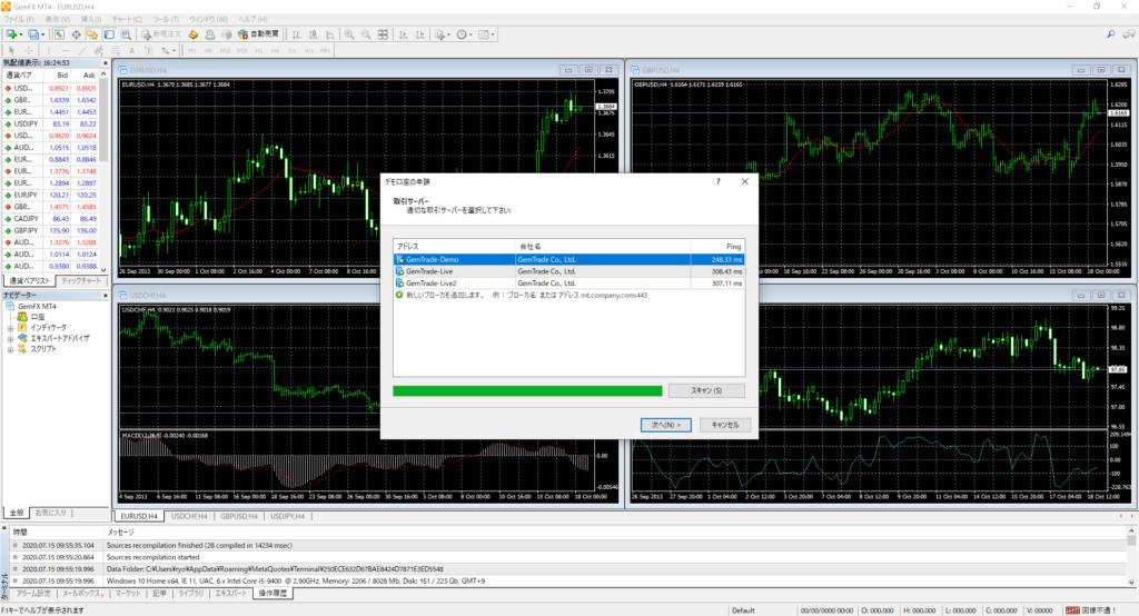 gemforexのMT4画面