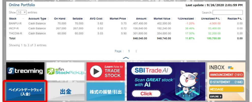 SBITOのマイページ画面