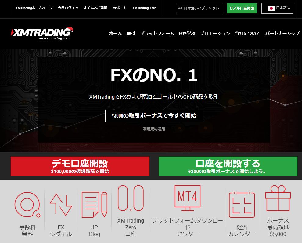 XM Tradingのホームページ