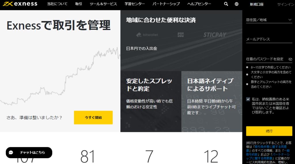 EXNESSのホームページ
