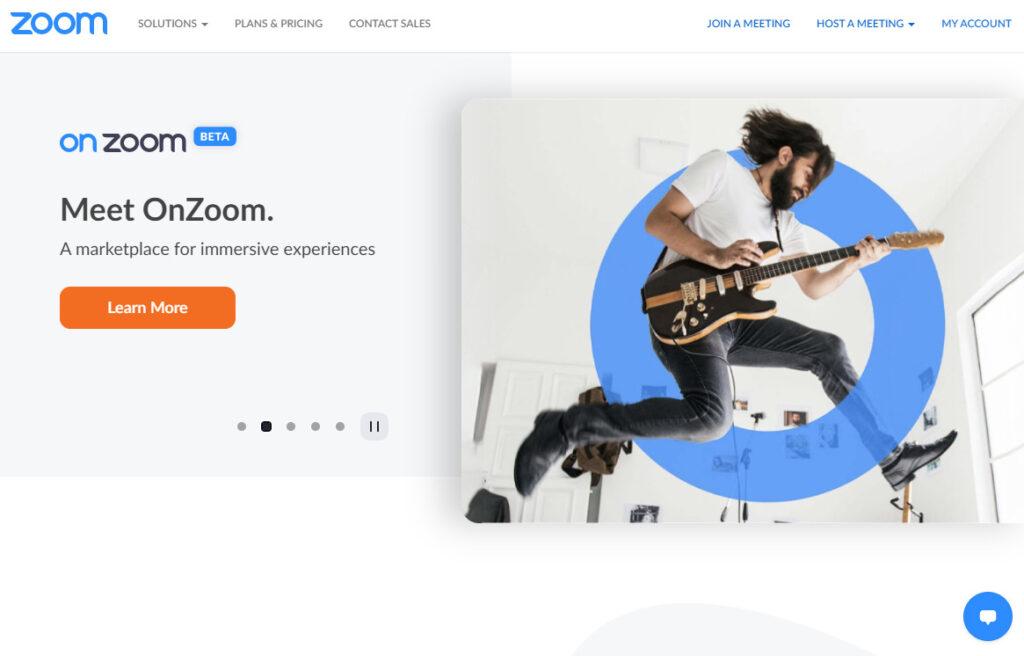 Zoomのホームページ