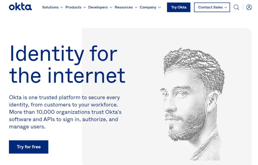 Oktaのホームページ