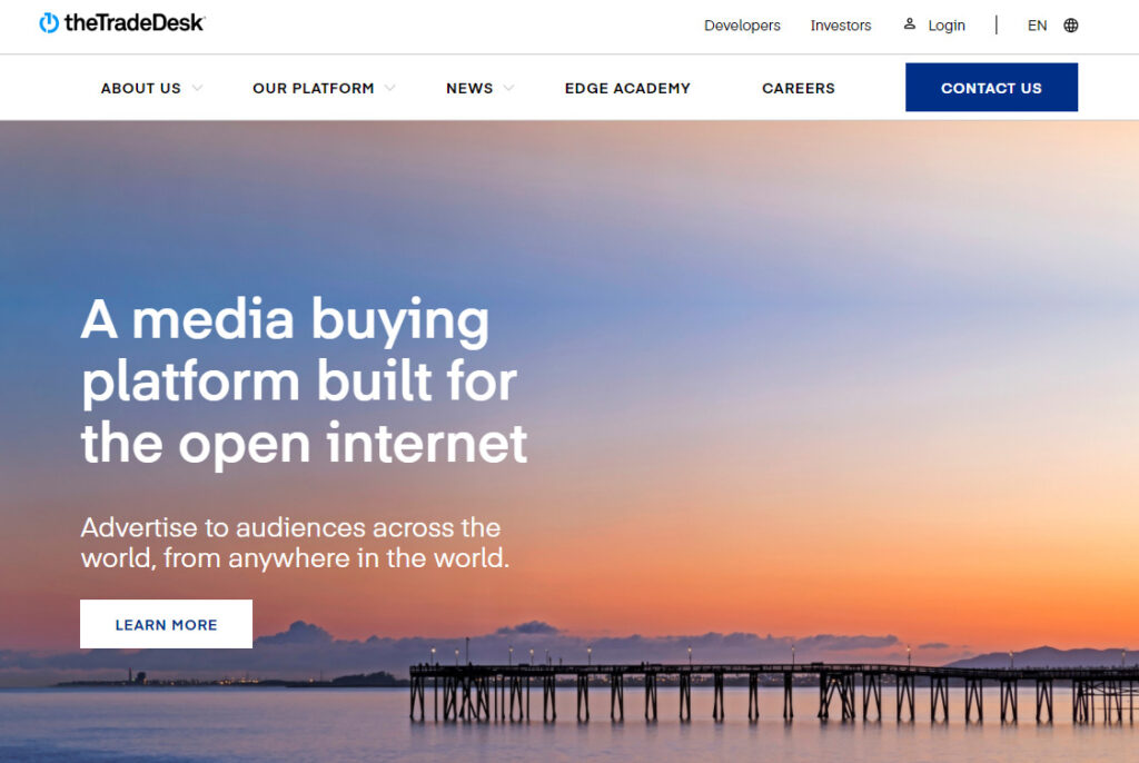 The TradeDeskのホームページ