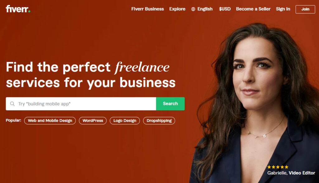 Fiverrのホームページ