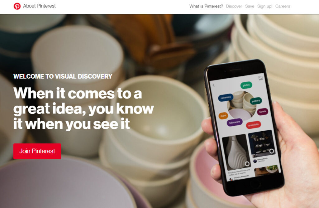 Pinterestのホームページ