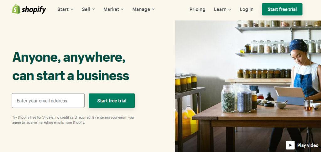 ショッピファイのホームページ