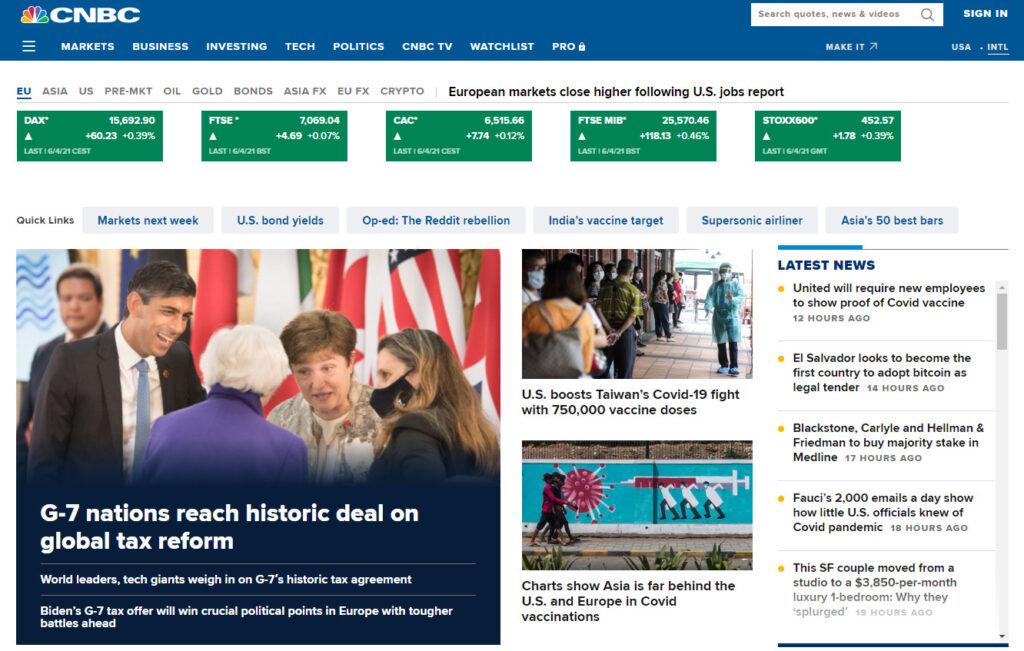 CNBCのホームページ