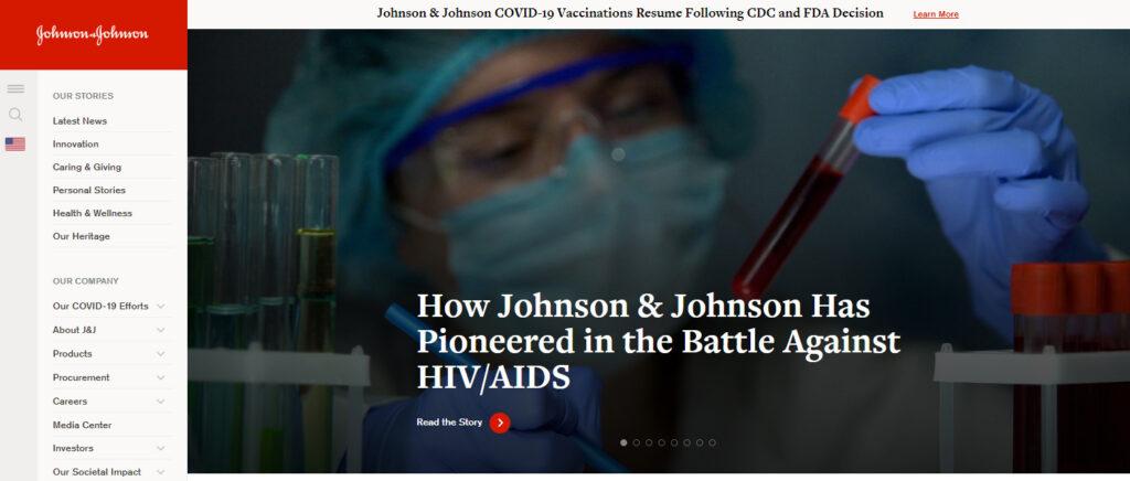 ジョンソン・アンド・ジョンソンのホームページ