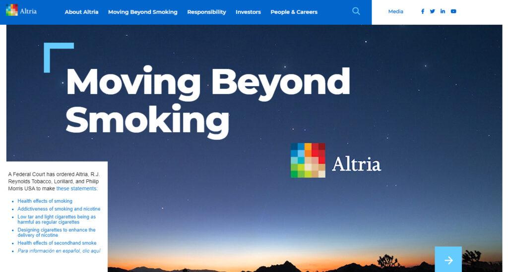 アルトリア・グループのホームページ