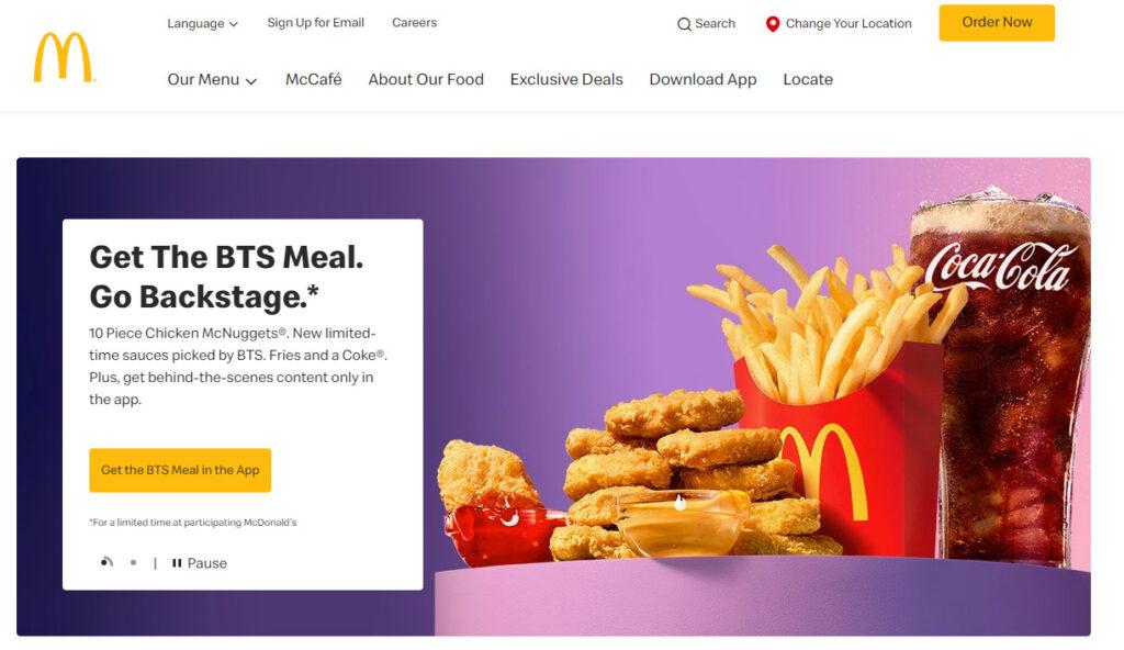 マクドナルドのホームページ