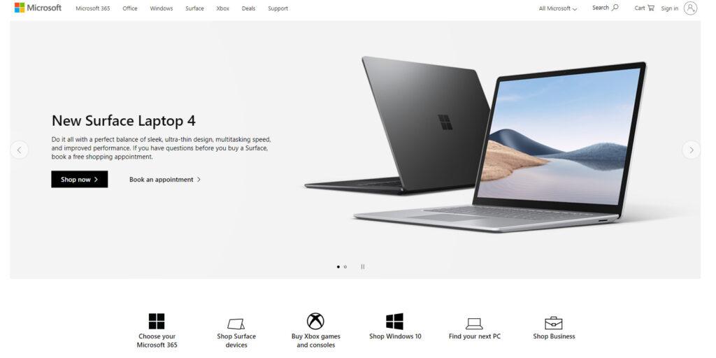 マイクロソフトのホームページ