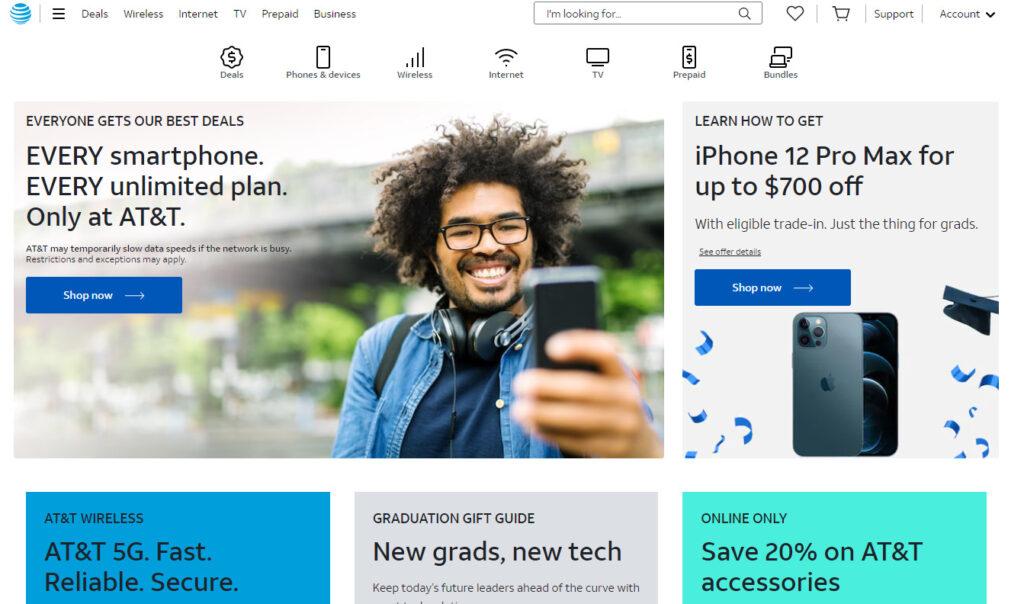 AT&Tのホームページ