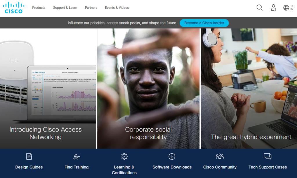 シスコ・システムズのホームページ