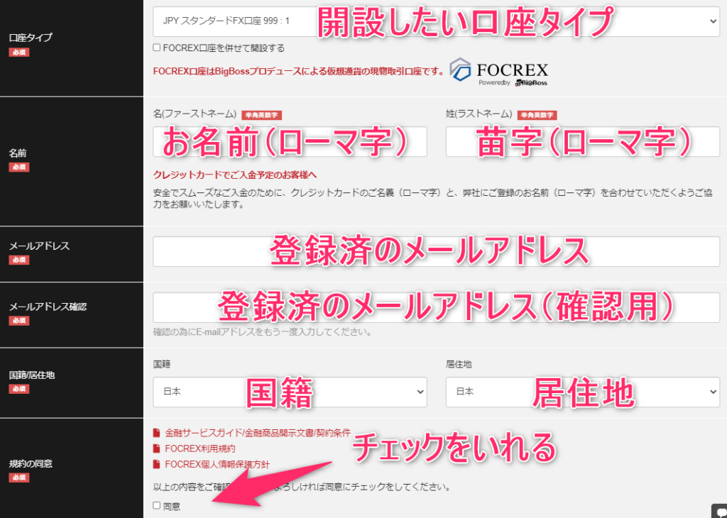 BigBossの追加口座開設ページ